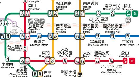 MRTでの台北アリーナへのアクセス