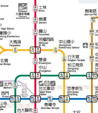 故宮博物院への行き方‐MRTマップ