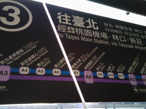 MRT高鐵桃園駅→空港の乗り場プラットホーム